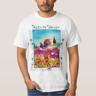SUNFLOWERS,POPPIES,BLACK ROOSTER NATURE LOVER T-Shirt
