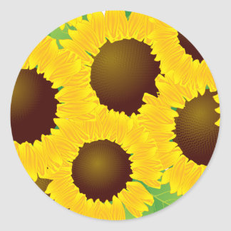 Sunflowers Print Pattern Classic Round Sticker