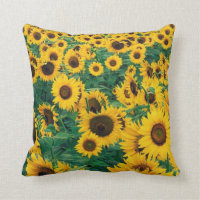 Sunflowers Print Throw Pillow
