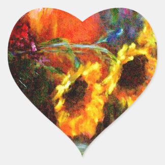 Sunflowers & Pumpkin Painting  by Sharles Heart Sticker