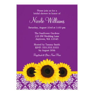 Sunflowers Purple and White Damask Bridal Shower Personalized Invitations