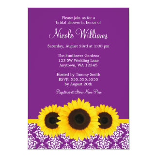 Sunflowers Purple and White Damask Bridal Shower 5x7 Paper Invitation Card