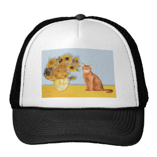 Sunflowers - Red Abyssinian cat Mesh Hats