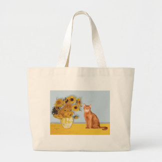 Sunflowers - Red Abyssinian cat Large Tote Bag