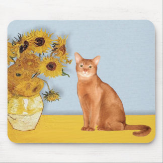 Sunflowers - Red Abyssinian cat Mouse Pad