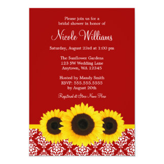 Sunflowers Red and White Damask Bridal Shower Card