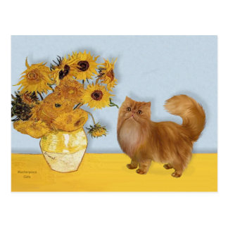 Sunflowers - Red Persisan cat Postcard