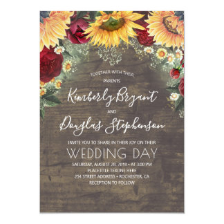 Sunflowers Red Roses Daisies Rustic Wedding Invitation