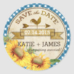 "Sunflowers Rooster Rustic Save the Date Label<br><div class=""desc"">Sunflowers with blue gingham check background and a rooster weather vane rustic country picnic save the date label design.</div>"