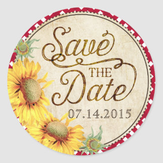 Sunflowers Rooster Rustic Save the Date Label Round Sticker