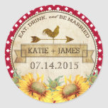 "Sunflowers Rooster Rustic Wedding Label<br><div class=""desc"">Sunflowers with red gingham check background and a rooster weather vane rustic country picnic wedding label design.</div>"