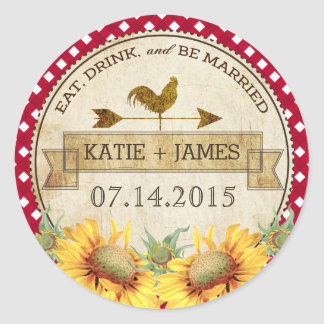 Sunflowers Rooster Rustic Wedding Label