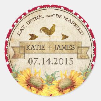 Sunflowers Rooster Rustic Wedding Label Round Sticker