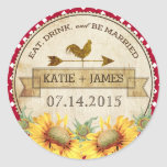 Sunflowers Rooster Rustic Wedding Label Classic Round Sticker