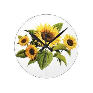 Sunflowers Round Clock