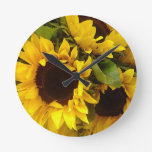 Sunflowers Round Clocks