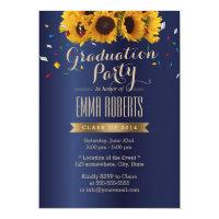 Sunflowers Royal Blue Confetti Graduation Party Invitation