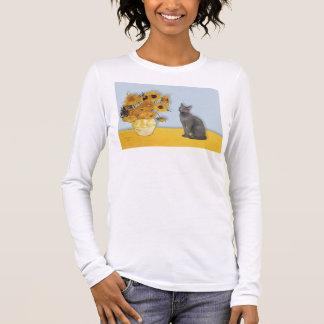 Sunflowers - Russian Blue cat Long Sleeve T-Shirt