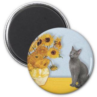 Sunflowers - Russian Blue cat Magnet