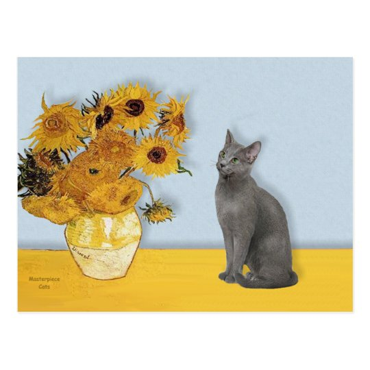 Sunflowers - Russian Blue cat Postcard