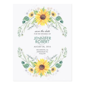 Sunflowers Rustic Country Save the Date Postcard