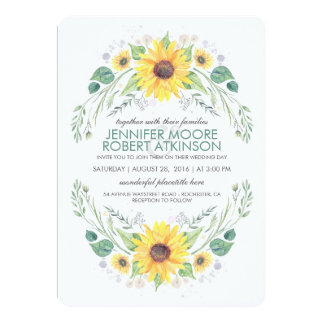 Sunflowers Rustic Country Wedding Card