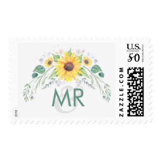 Sunflowers Rustic Country Wedding Postage