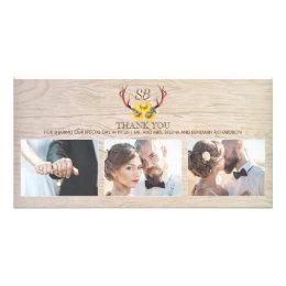 Sunflowers Rustic Deer Antlers Wedding Thank You Card