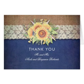 Burlap and Lace Rustic Navy Blue Wedding Thank You Cards