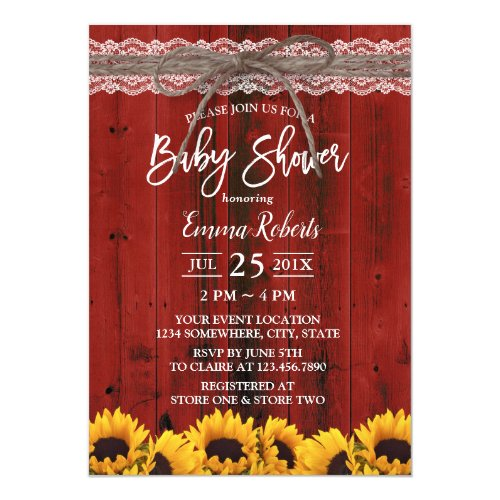 Sunflowers Rustic Red Barn Lace Twine Baby Shower Invitation
