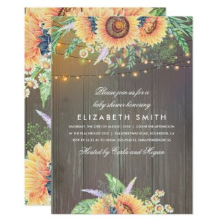 Sunflowers Rustic String Lights Wood Baby Shower Card