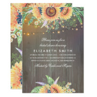 Sunflowers Rustic String Lights Wood Bridal Shower Invitation