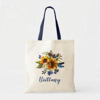 Sunflowers Rustic Watercolor Bridesmaid Name Tote Bag
