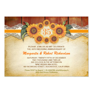 Sunflowers Rustic Wood anniversary Invitations