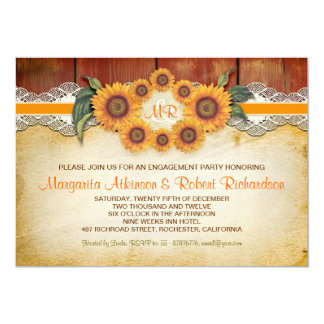 Sunflowers Rustic Wood engagement party invites