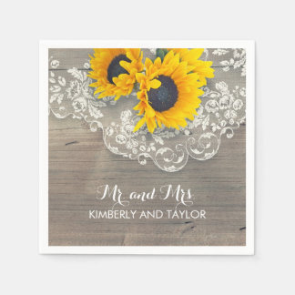 Sunflowers Rustic Wood Lace Country Wedding Paper Napkin
