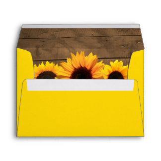 Sunflowers & Rustic Wood Personalized Envelope