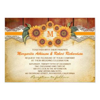 Sunflowers Rustic Wood Wedding Invitations