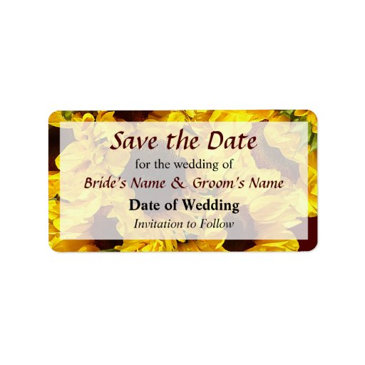 Sunflowers Save the Date Address Label
