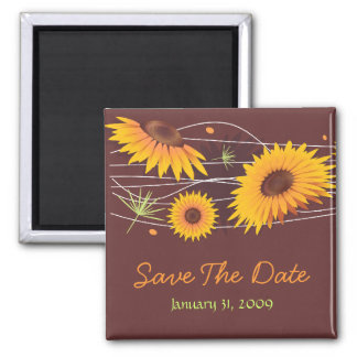 Sunflowers Save The Date Wedding Announcement 2 2 Inch Square Magnet