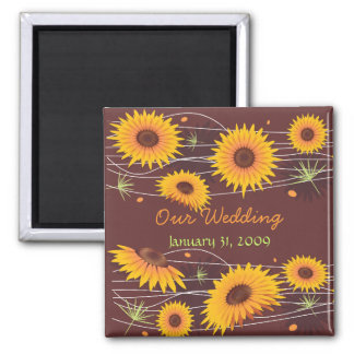 Sunflowers Save The Date Wedding Announcement 5 2 Inch Square Magnet