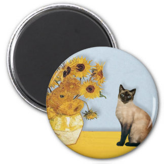 Sunflowers - Seal Point Siamese cat 2 Inch Round Magnet