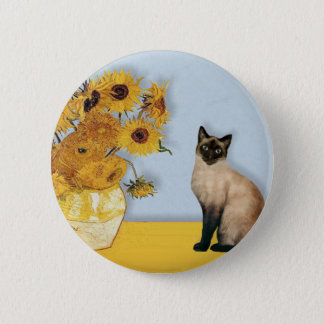 Sunflowers - Seal Point Siamese cat Pinback Button