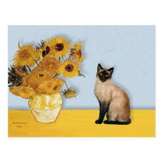 Sunflowers - Seal Point Siamese cat Postcard