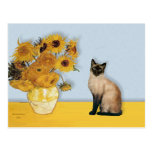 Sunflowers - Seal Point Siamese cat Postcards