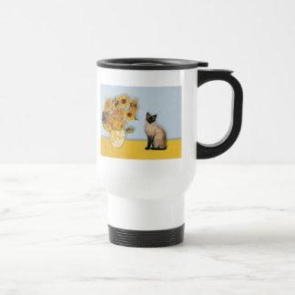 Sunflowers - Seal Point Siamese cat Travel Mug