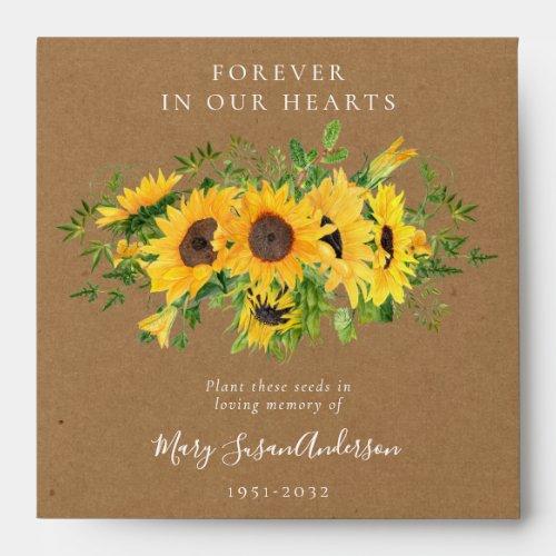 Sunflowers Seed Packet Memorial Funeral  Envelope