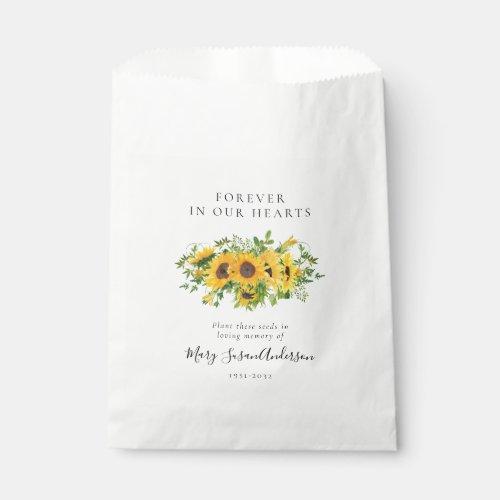 Sunflowers Seed Packet Memorial Funeral Favor Bag