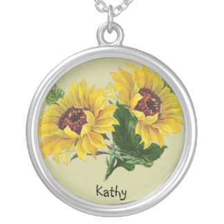 Sunflowers Silver Plated Necklace