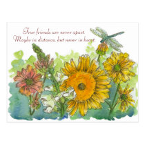 Sunflowers Snapdragon Flowers Friendship Poem Postcard